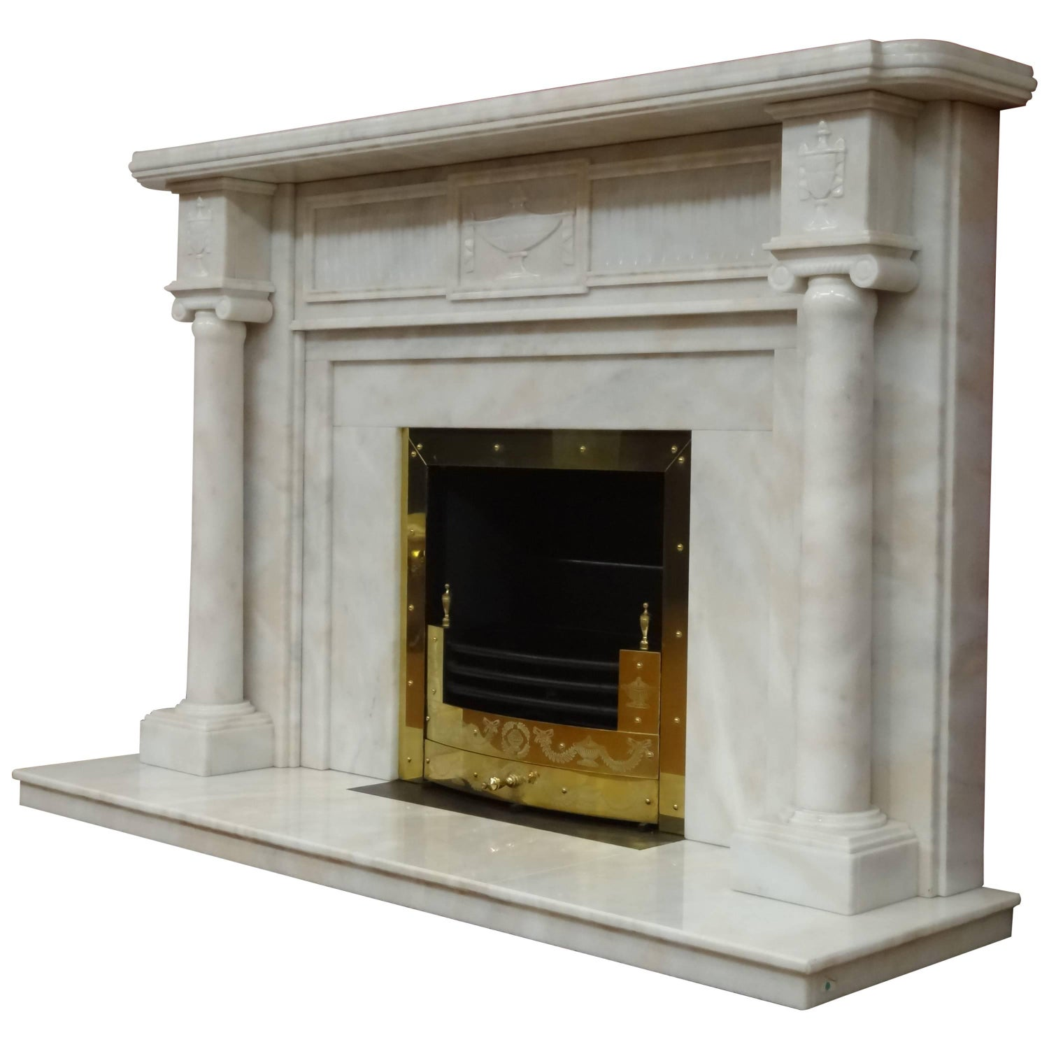 irish 21st century carved marble adam style fireplace with brass