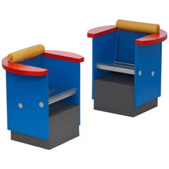 Memphis style Unusual Pair of Blue, Red and Yellow Chairs