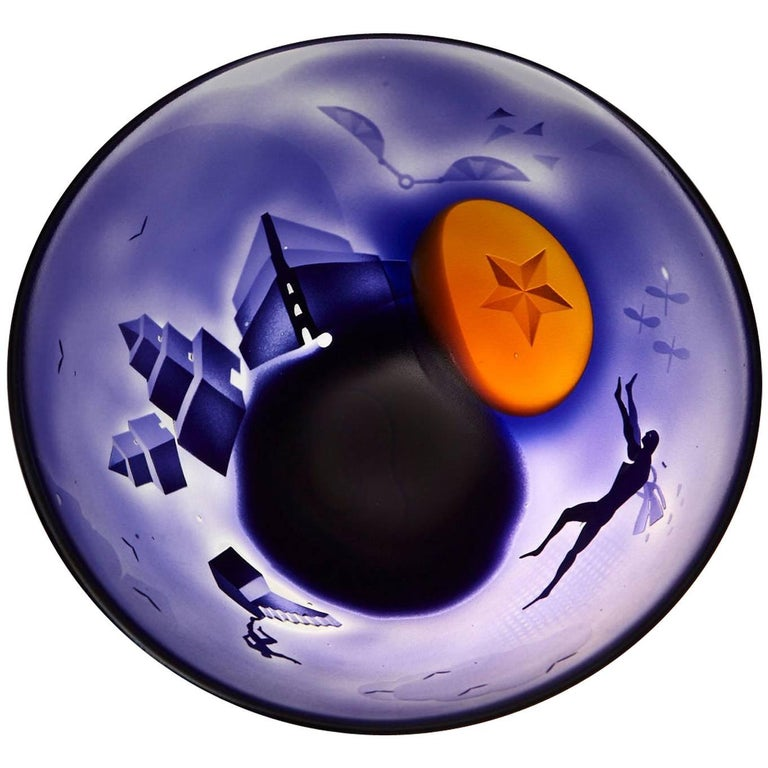 Large Kosta Unik Surrealist Art Glass Bowl by Bertil Vallien, 1970s For Sale
