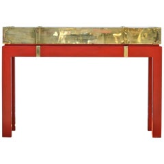 Brass Campaign Style Console in the Manner of Springer