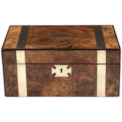 Antique Burr Walnut Writing Box with Brass Straps, 19th Century