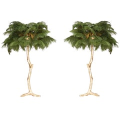 Golden Feathered Tree Lamp Green