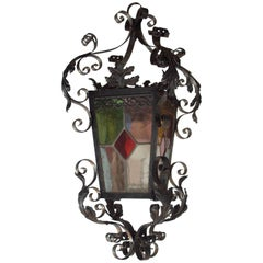 Antique French Lantern in Iron and Stained Glass Panels