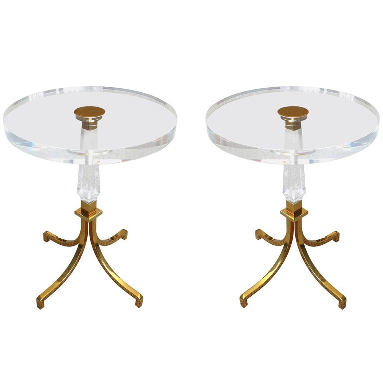 Pair of Regency Style Lucite and Brass Side Tables by Charles Hollis Jones For Sale