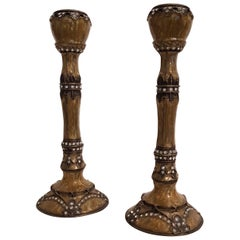Pair of 19th Century Enamelled and Inlaid Strass Candlesticks