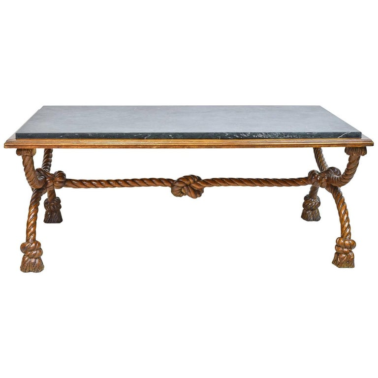 Small Rectangular Coffee Table With Carved Trestle Base And Green Marble Top For Sale At 1stdibs