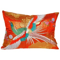 Custom Pillow Cut from a Vintage Silk Japanese Uchikake Wedding Kimono