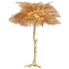 Golden Feathered Tree Lamp Gold