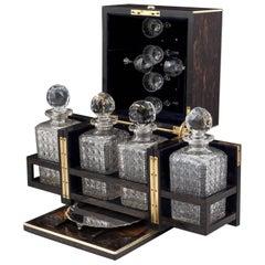 Antique Coromandel Decanter Box with Silver Salver/Tray 19th Century