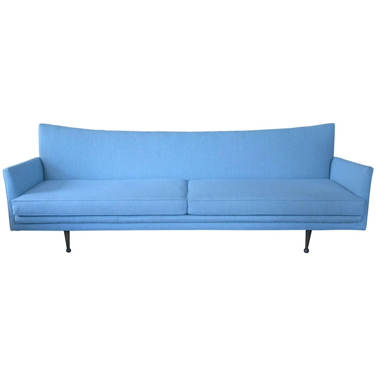 Classic modern 1950s sculptural long sofa for sale at 1stdibs for Long couches for sale