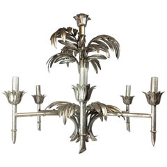 Silver Leaf Palm Faux Bamboo Chandelier