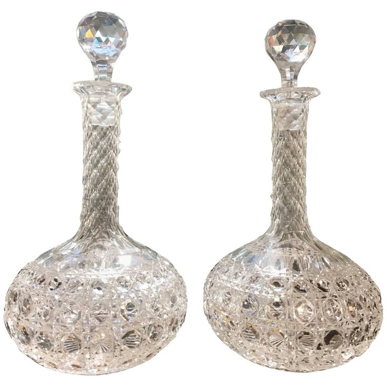 Pair of Late 19th Century Hand-Cut Glass Wine Claret Decanters