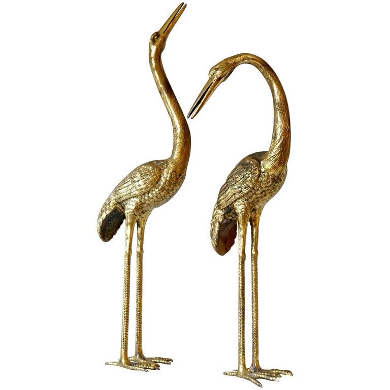 Pair of Hollywood Regency 1970s Brass Cranes or Herons