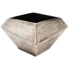 Facet Stony Gray and Black Modern Geometric Ceramic Vessel