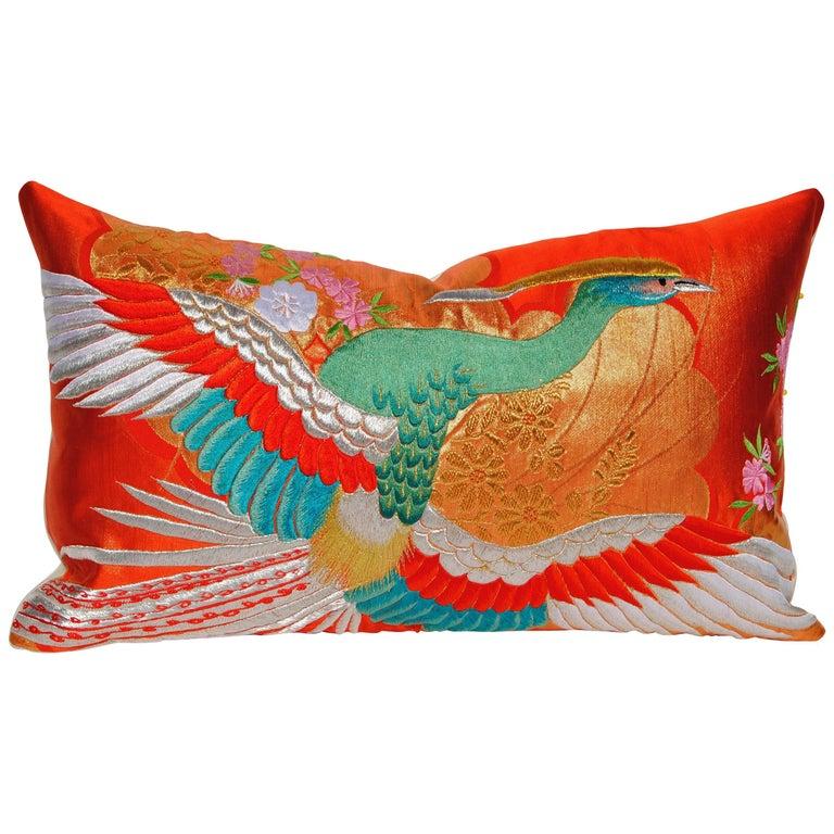 Custom Pillow Cut from a Vintage Japanese Silk Uchikake Wedding Kimono For Sale