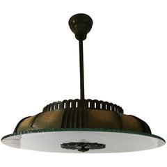 Large and Rare 1930 Swedish Böhlmarks Art Deco Glass and Bronze Pendant Lamp