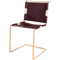 Brass Plated Steel Chair With Water Buffalo Leather Upholstery