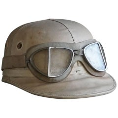 Mid-20th Century English Racing Helmet with Goggle