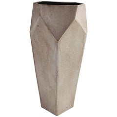 Facet Stony Gray and Black Tall Modern Geometric Ceramic Tower Vase, In Stock