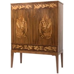 Erik Mattsson mahogany cabinet with various exotic wood inlay, Sweden circa 1940