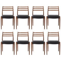 Niels Møller set of eight teak dining chairs, Denmark circa 1960