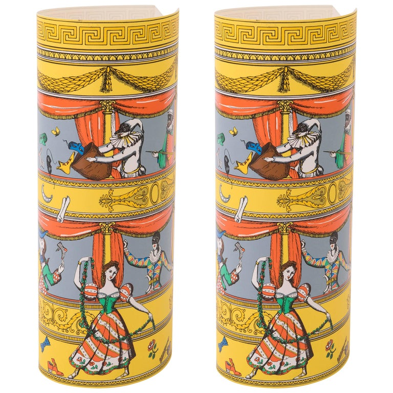 Barnaba Fornasetti pair of printed and colored perspex table lamps, Italy 1995