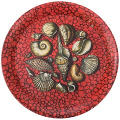 Piero Fornasetti metal serving tray lithographically printed, Italy, circa 1950