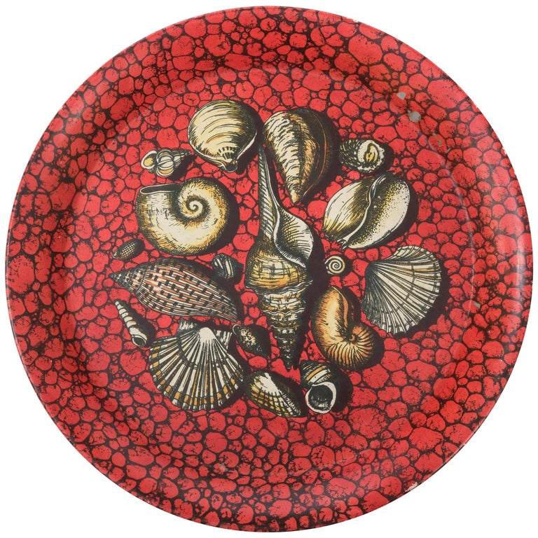 Piero Fornasetti metal serving tray lithographically printed, Italy circa 1950