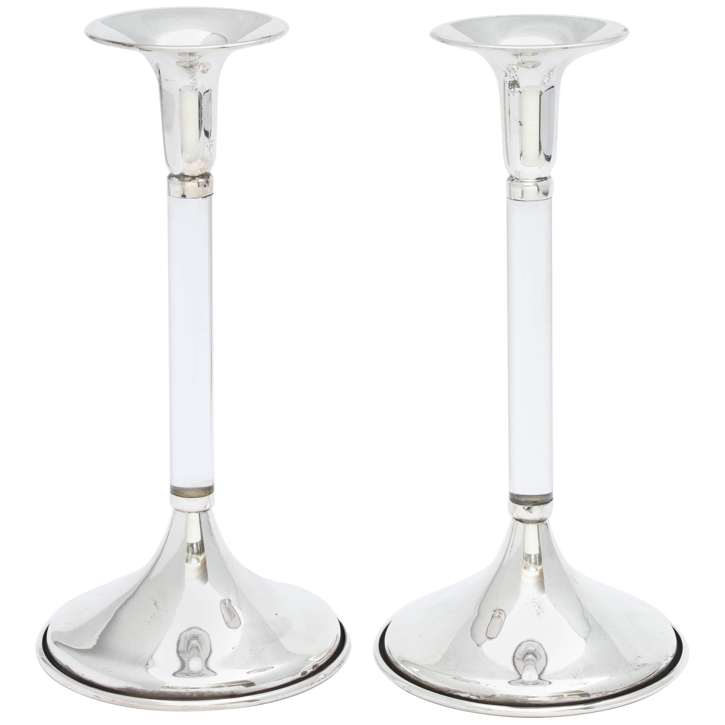 Pair of Mid-Century Modern Sterling Silver-Mounted Lucite Candlesticks