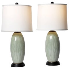 Pair of Green Celadon Lamps