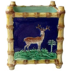 English Majolica Bamboo Jardiniere with Stag and Greyhound, circa 1880