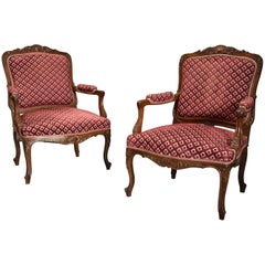 Pair of Late 19th Century French Walnut Fauteuils, Open Armchairs in the Louis