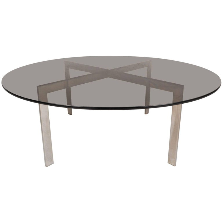 Mid Century Modern Round Coffee Table With A X Shaped Chrome Base