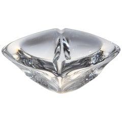 French Crystal Large Ashtray Signed Daum France
