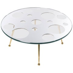 21st Century Custom Contemporary Coffee Table in Glass, Solid Brass and Mirror