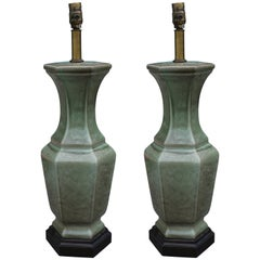 Pair of Frederick Cooper Green Glazed Ceramic Vase Table Lamps