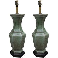 Pair of Frederick Cooper Green Glazed Ceramic Vase Table Lamps