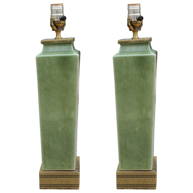 Pair of Frederick Cooper Green Glazed Ceramic and Brass Table Lamps