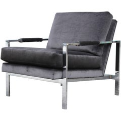 Modern Chrome and Dark Grey Velvet Milo Baughman Lounge Chair