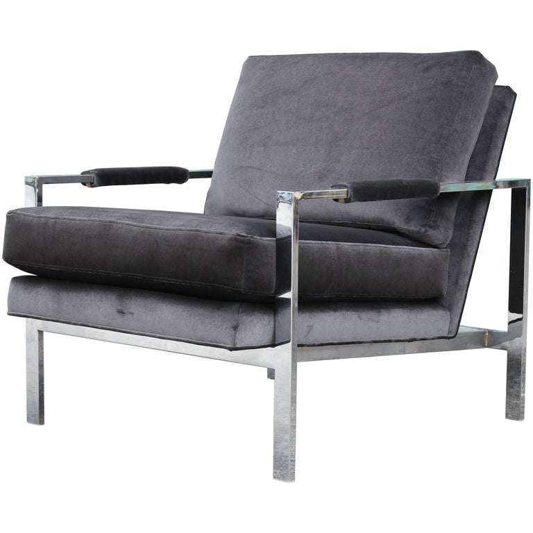 Modern Chrome and Dark Grey Velvet Milo Baughman Lounge Chair