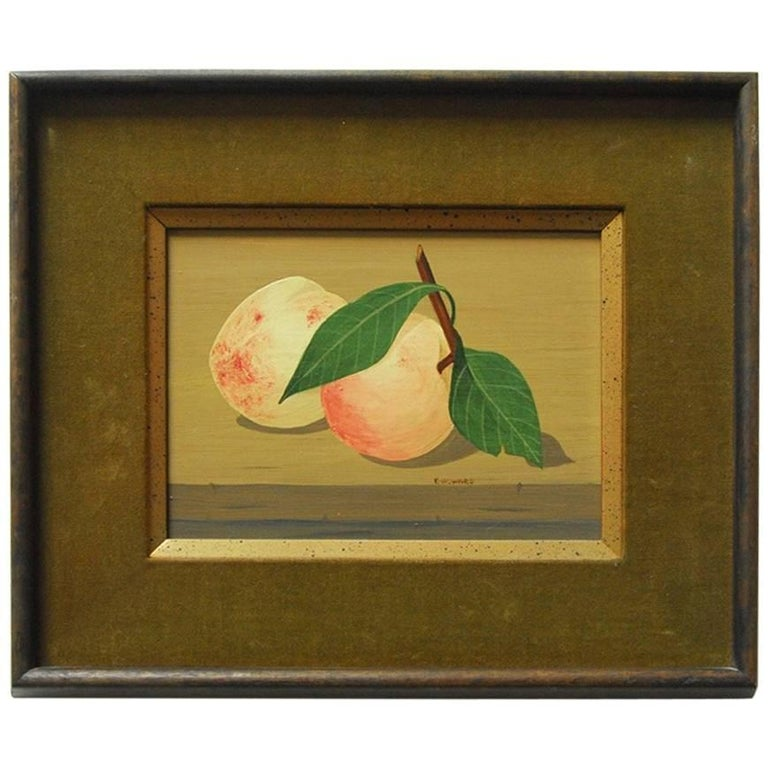 """Midcentury Still Life """"Two Peaches"""" by K. Howard For Sale"""