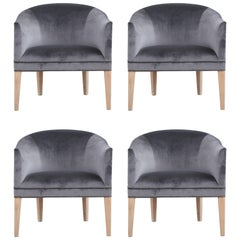 Set of Four Modern Dark Grey Velvet Barrel Back Lounge Chairs
