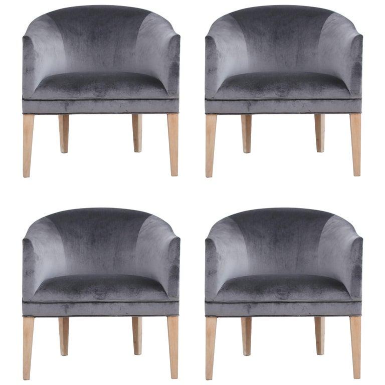 Set of Four Modern Dark Grey Velvet Barrel Back Lounge Chairs