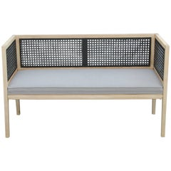 Modern Cane and Bleached Wood Settee or Love Seat in a Light Grey Woven