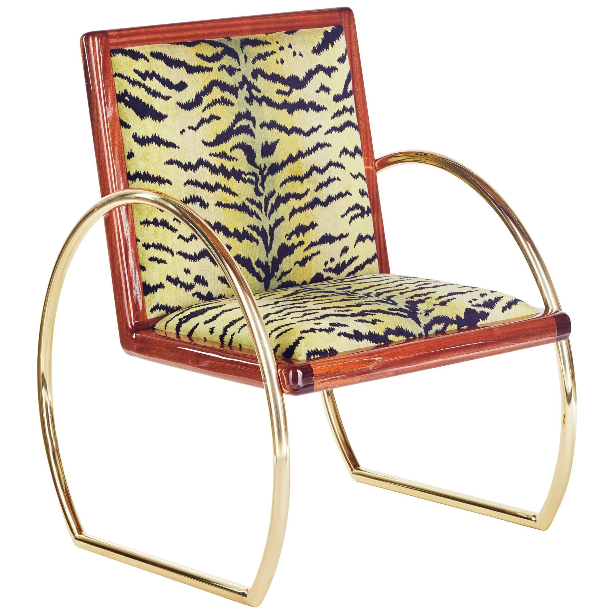 21st Century Handmade Contemporary Lounge Chair in Mahogany Brass