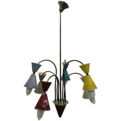 Stilnovo Design Lamp Six-Lights Chandelier 1950s