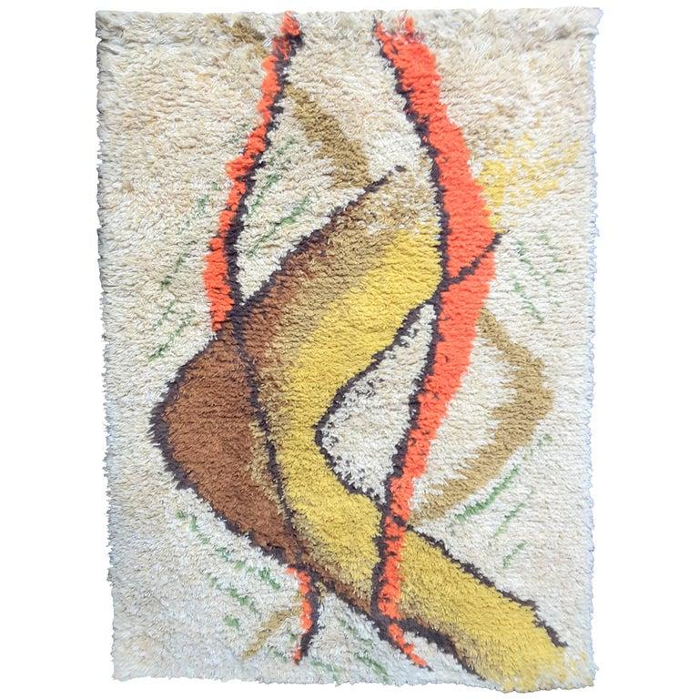 Modern Scandinavian Rug: Scandinavian Rya Danish Modern 1960's Wool Rug For Sale At