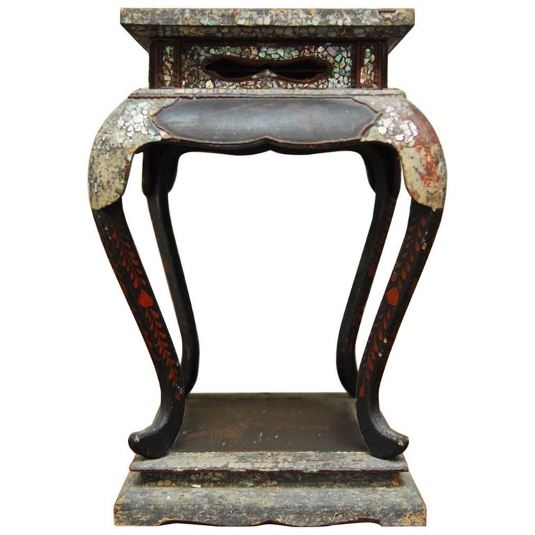 19th Century Japanese Meiji Lacquer Mother-of-Pearl  Stand
