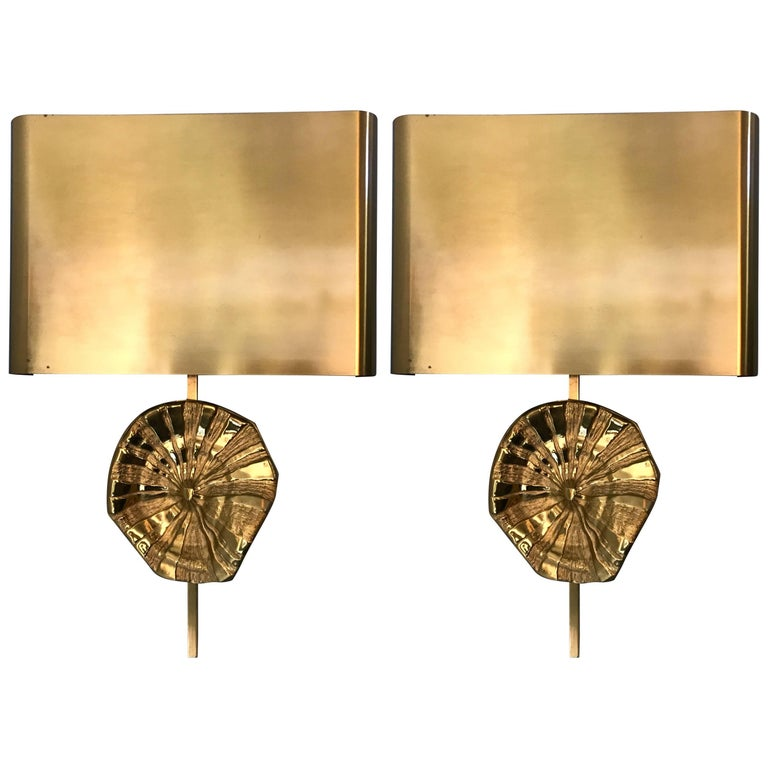 Pair of Bronze Sconces by Maison Charles. France. 1970s