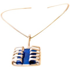 Silver Harp Pendant with Blue Enamel by Bjørn Sigurd Østern 1966, Norway